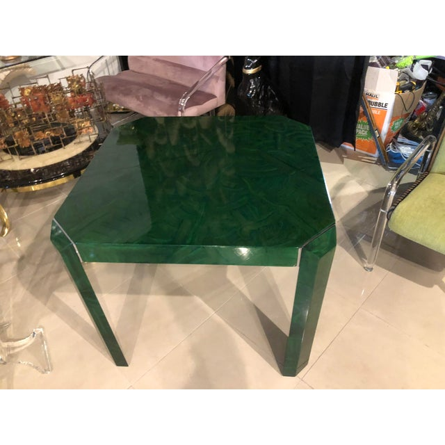Vintage Hollywood Regency Faux Malachite Chrome Game Dining Table For Sale - Image 11 of 13
