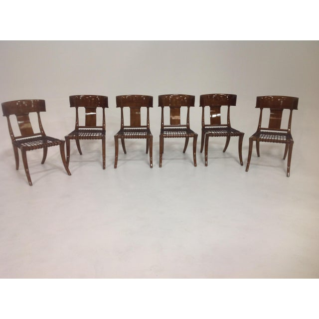 Wood Mid-Century Klismos Style Dining Chairs - Set of 6 For Sale - Image 7 of 7