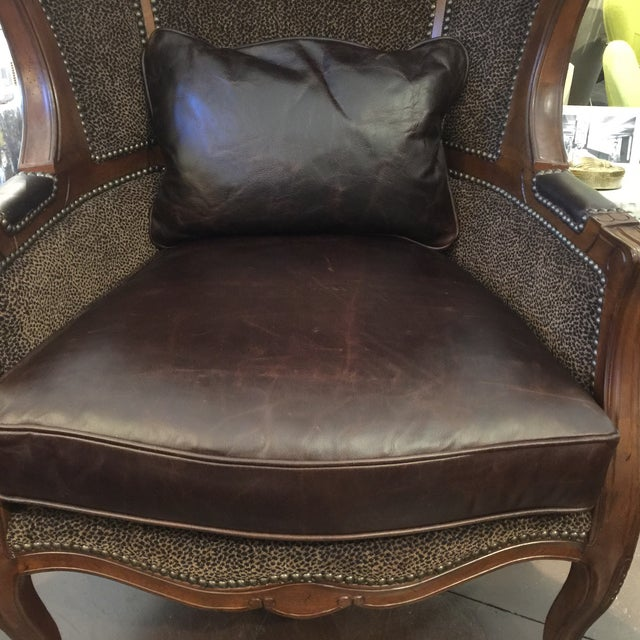 Leopard & Leather Canopy Porters Chair For Sale In Sacramento - Image 6 of 9