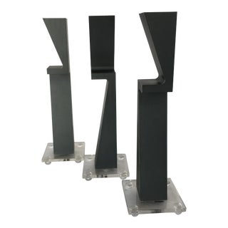 Machined Metal Candlestick Holder by Zelig Segal - Set of 3 For Sale