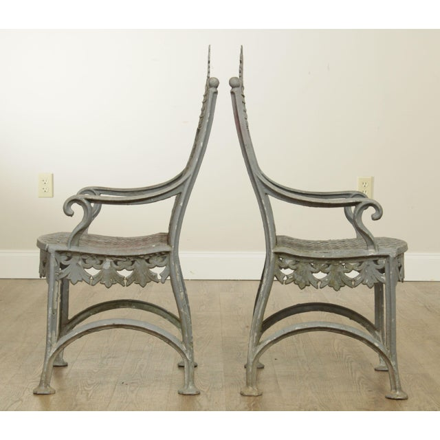 Antique Cast Iron Pair of Garden Cemetery Armchairs, Fred Gensel & Co. For Sale - Image 4 of 13