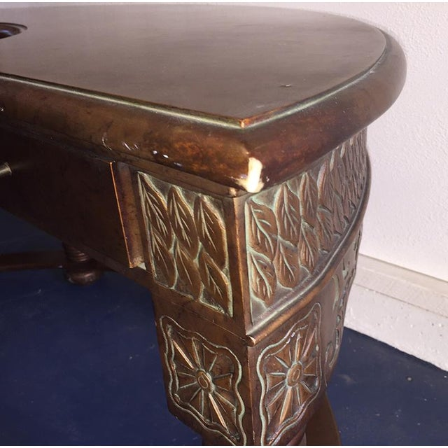 Carved Amboyna Burl Demilune Desk - Image 7 of 7