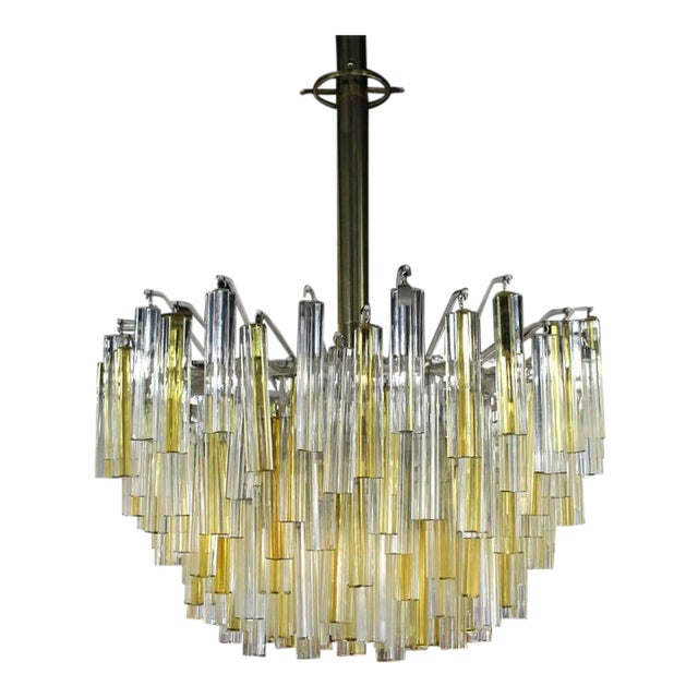 Venini Two-Tone Gold and Clear Murano Camer Light Fixture For Sale - Image 9 of 9