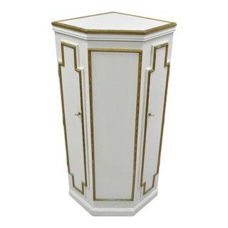 "50"" Victorian Style White & Gold Wooden Corner Cupboard Cabinet Pedestal Stand"