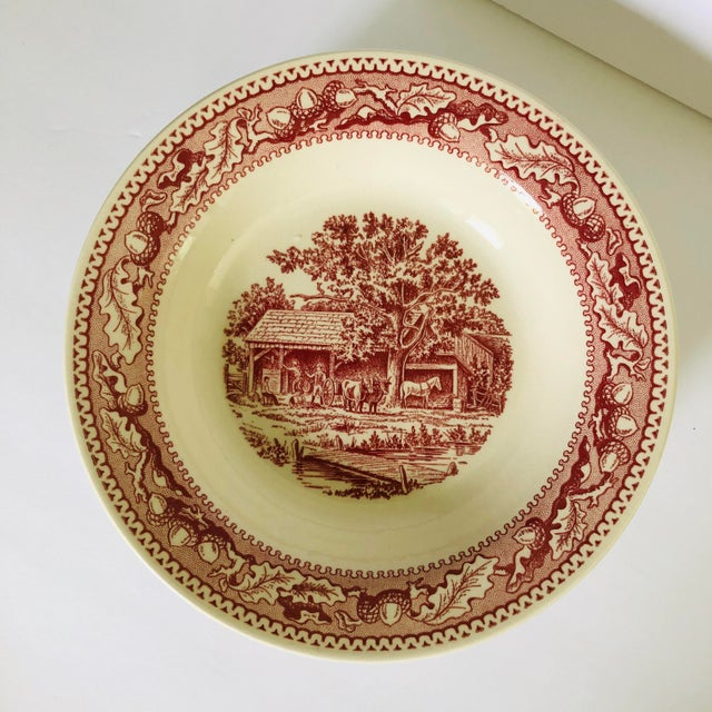 1960's Royal Ironstone Red Transfer Ware Soup Bowls S/5 For Sale - Image 4 of 8