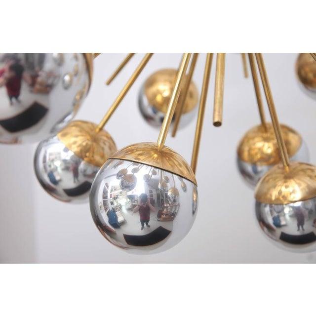 Hollywood Regency 1 of 2 Exceptional Huge Sputnik Murano Glass and Brass Chandelier For Sale - Image 3 of 6