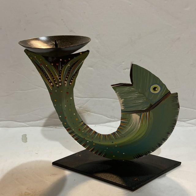 Robert Shields Folk Art Metal Fish Candle Holder For Sale - Image 13 of 13