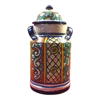 Handmade Mexican Talavera Pottery Ginger Jar For Sale