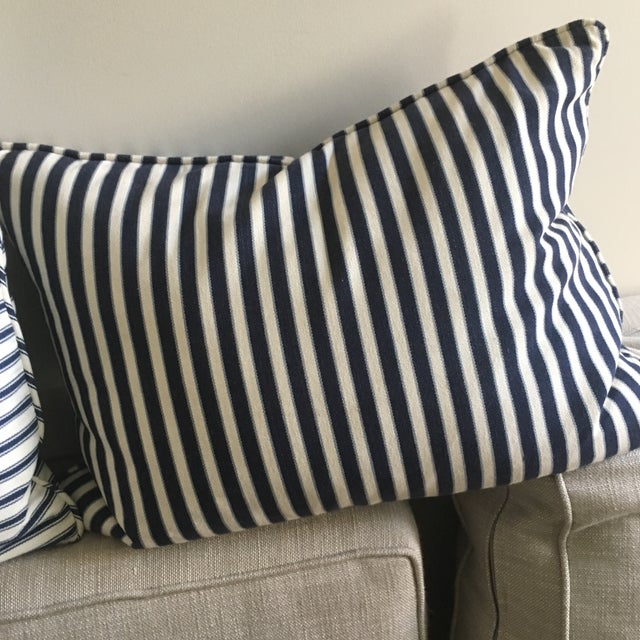 Contemporary Navy Blue & White Patterned Pillow - Image 3 of 3