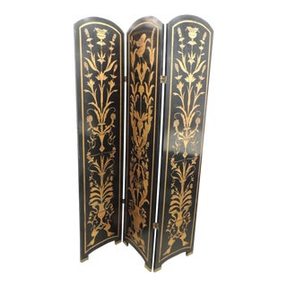 Modern Black and Gold Lacquered Folding Screens with Birds