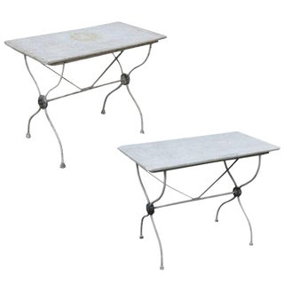 Marble-Top Iron Garden Tables - a Pair For Sale