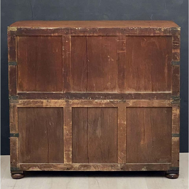 English Officer's Campaign Chest Secretaire of Teak and Brass For Sale - Image 12 of 13