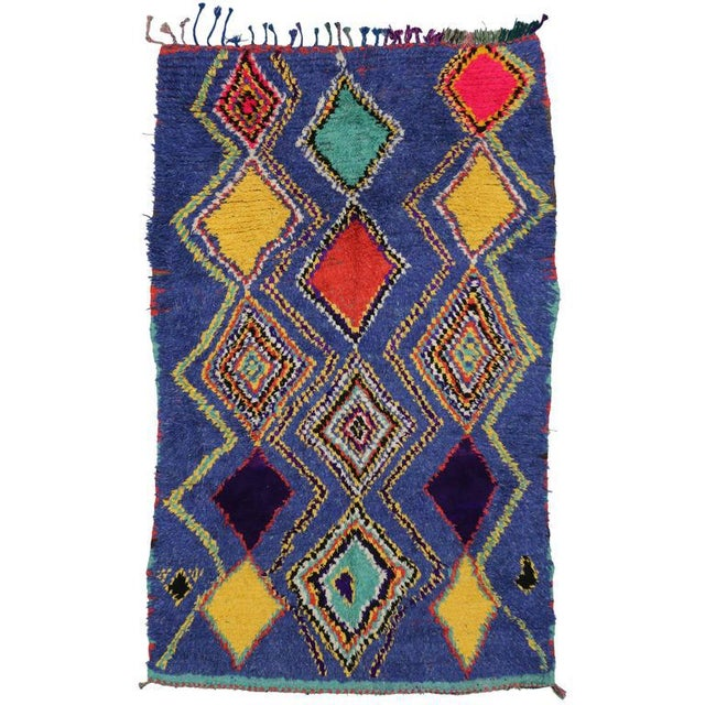 "Vintage Berber Moroccan Tribal Diamond Rug - 4'8"" X 7'3"" For Sale - Image 9 of 9"