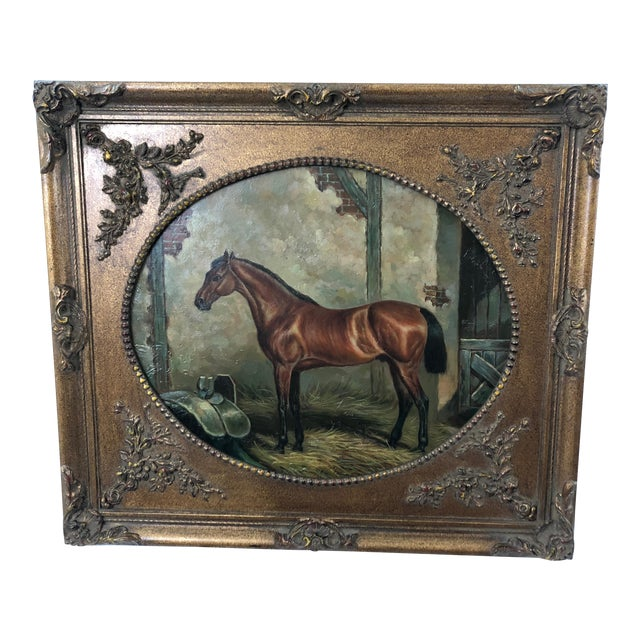 Americana Marvelous Old World Portrait of House in Stable For Sale