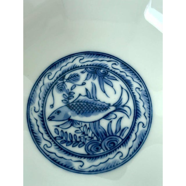 Asian Japanese Blue & White Bowl For Sale - Image 3 of 7