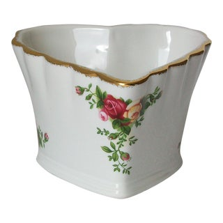 Royal Albert / Doulton Old Country Roses Fluted Heart Shaped Bowl Vase Candle Holder