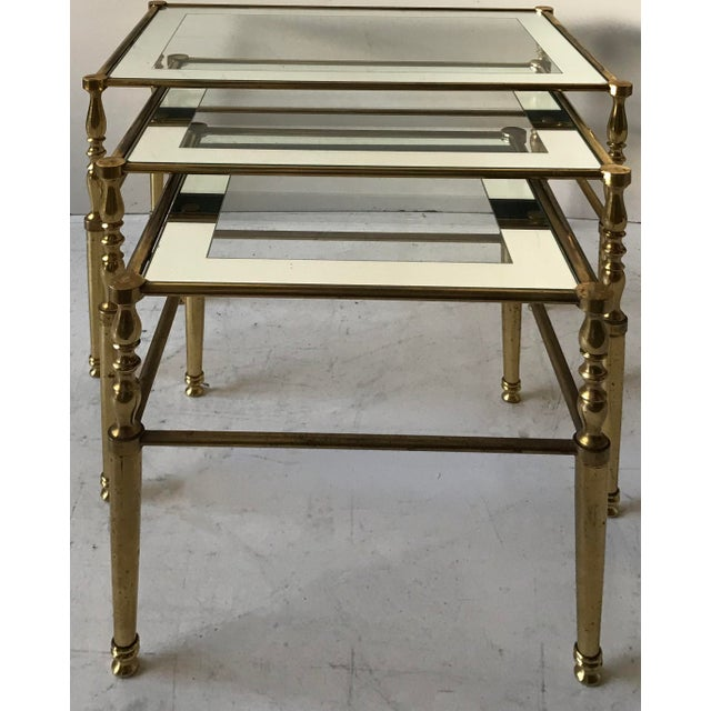 Superb bronze set of table by Maison Jansen Clear and mirror top glass Dimensions : 22 inches L, 16 inches D, 19 inches H...