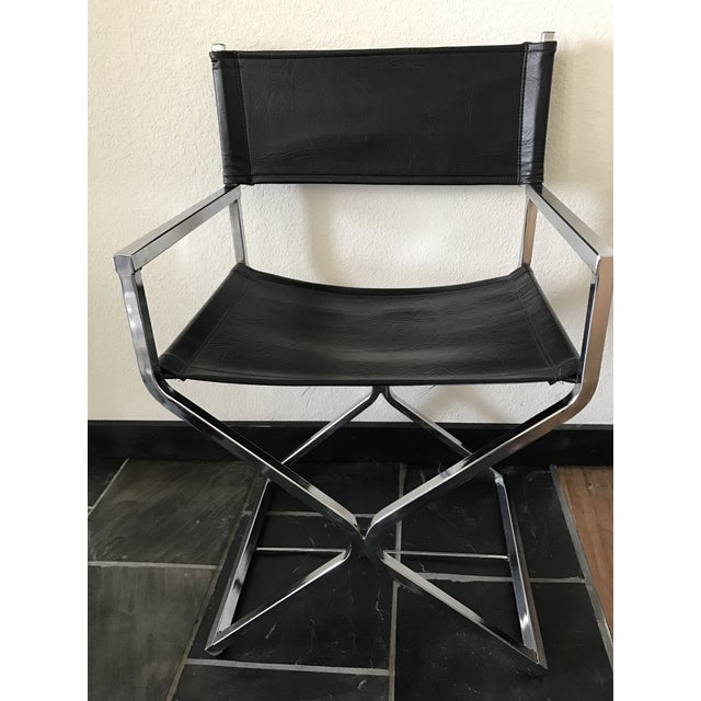 Vintage Mid-Century Modern Black Vinyl & Chrome Director Chair - Image 2 of 8