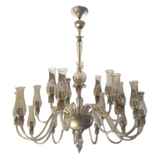 Large Smoky Venetian Chandelier For Sale