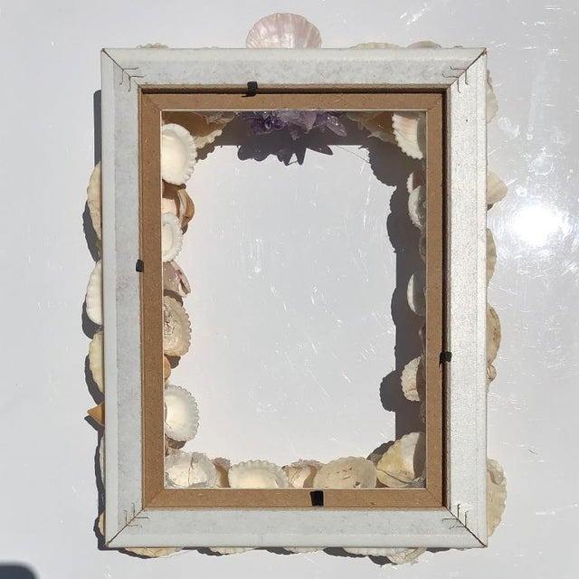 Boho Chic Grotto Style Purple and Pink Rectangle Shell Photo Frame With Gem Stones and Seashells For Sale - Image 3 of 7