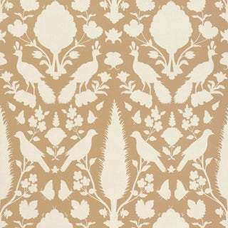 Sample - Schumacher Chenonceau Wallpaper in Fawn For Sale