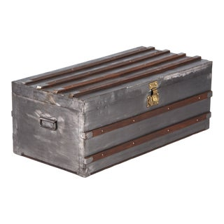 Early 20th Century French Antique Silver Metal Trunk For Sale