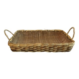 20th Century Country Woven Casserole Basket Carrier For Sale