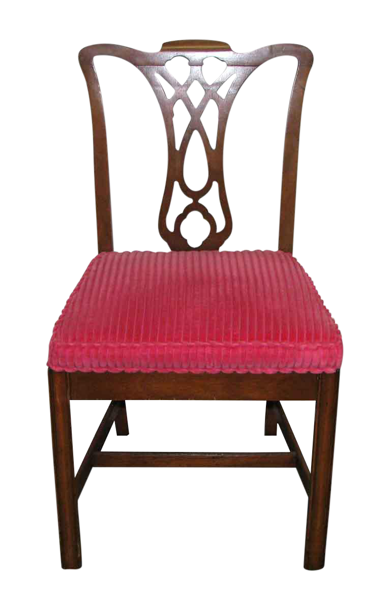 Wooden Red Cushioned Chairs   Set Of 6