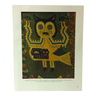 """Circa 1960 """"Embroidered Mythological Bird - Paracas Necpopolis Style"""" Mounted Treasures of Ancient America Print For Sale"""