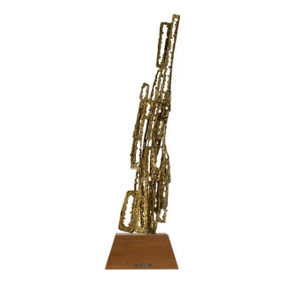 Brutalist Brass Sculpture by J Crane For Sale