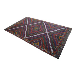 """Vintage Turkish Rug Hand Woven Wool Braided Cotton Area Rug Kilim - 7'11"""" X 11'10"""" For Sale"""