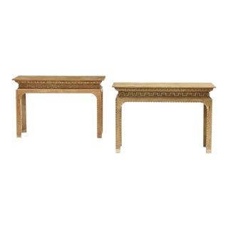 Vintage Italian Carved Console Tables - a Pair For Sale