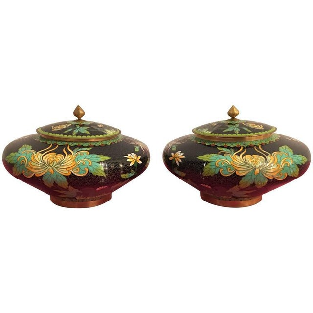 Vintage Cloisonné Lidded Jars - A Pair For Sale - Image 11 of 11