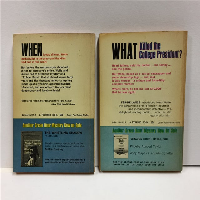 Mid-Century Modern Vintage 1964 Books by Rex Stout - A Pair For Sale - Image 3 of 7