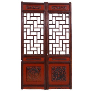Chinese Antique Open Carved Panels Wall Hanging