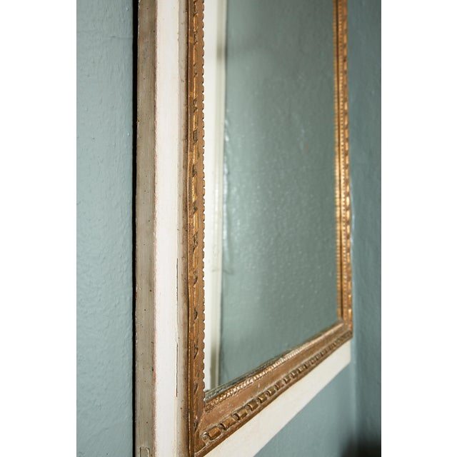 Late 19th Century French Louis XVI Trumeau Mirror in Gray and Gilt For Sale - Image 5 of 8