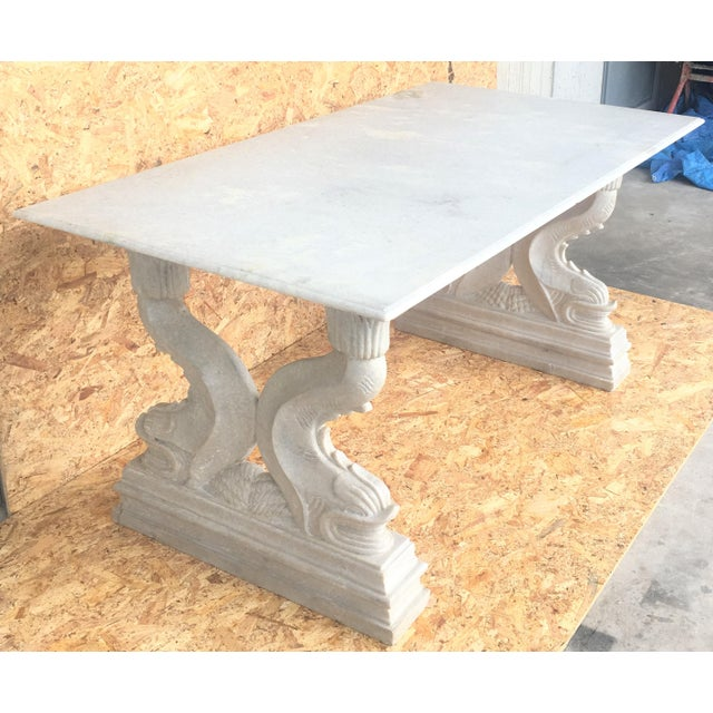 White 19th Italian Center or Dining Table in Carrara Marble For Sale - Image 8 of 13