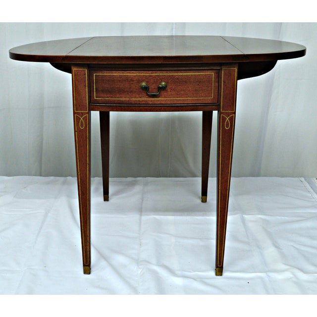 Brown Hickory Chair Co. Oval Wood Side Table with Wings For Sale - Image 8 of 11
