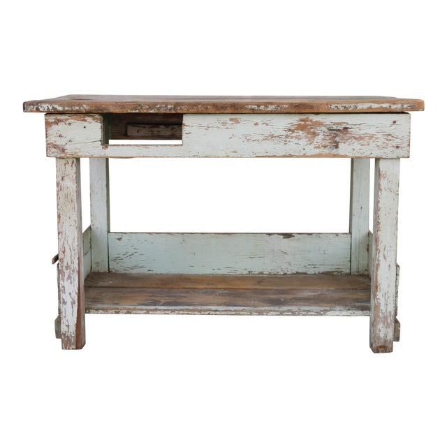 1950s Rustic Distressed Farm Table For Sale