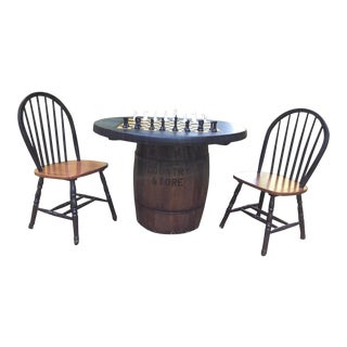 Old Whiskey Barrel Checkerboard Table & Windsor Chairs - Set of 3 For Sale
