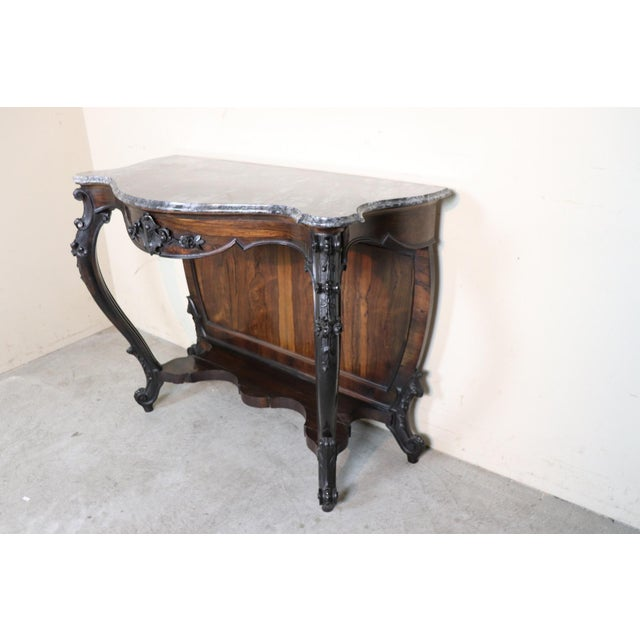 19th Century Italian Louis Philippe Rosewood Carved Marble-Top Console Table For Sale - Image 9 of 12