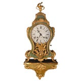 Image of 19th Century Green Tortoise Shell Gilt Clock With Paired Base For Sale