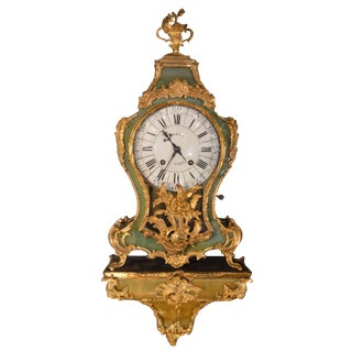 19th Century Green Tortoise Shell Gilt Clock With Paired Base For Sale
