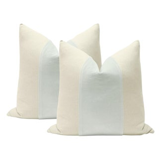 "22"" Mist Velvet Panel & Linen Pillows - A Pair"