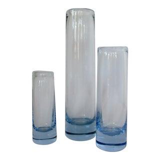 Holmegaard Blue Glass Vases, Set of 3 For Sale