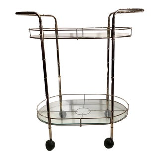 Mid Century Metal and Glass Bar Cart For Sale
