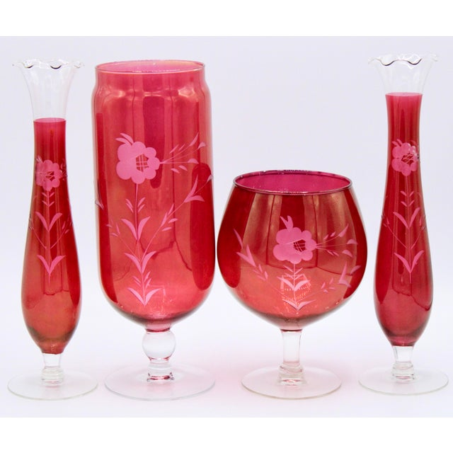 Antique Czech Bohemian Cranberry Glass Set of Vases (4) For Sale - Image 12 of 13