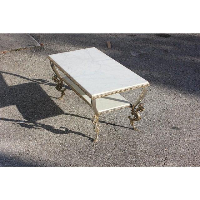 Art Deco 1940s Art Nouveau Maison Jansen Two-Tier Bronze ''Dragon Leg'' Coffee Table For Sale - Image 3 of 12