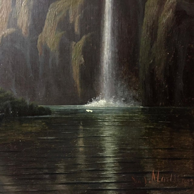 Art Nouveau C1873 Danish Painting of a Waterfall and Steamer For Sale - Image 3 of 9