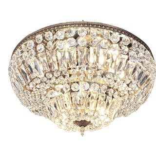 Crystal and Brass Flush Mount Chandelier For Sale